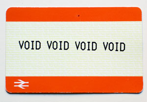 Ticket with void text