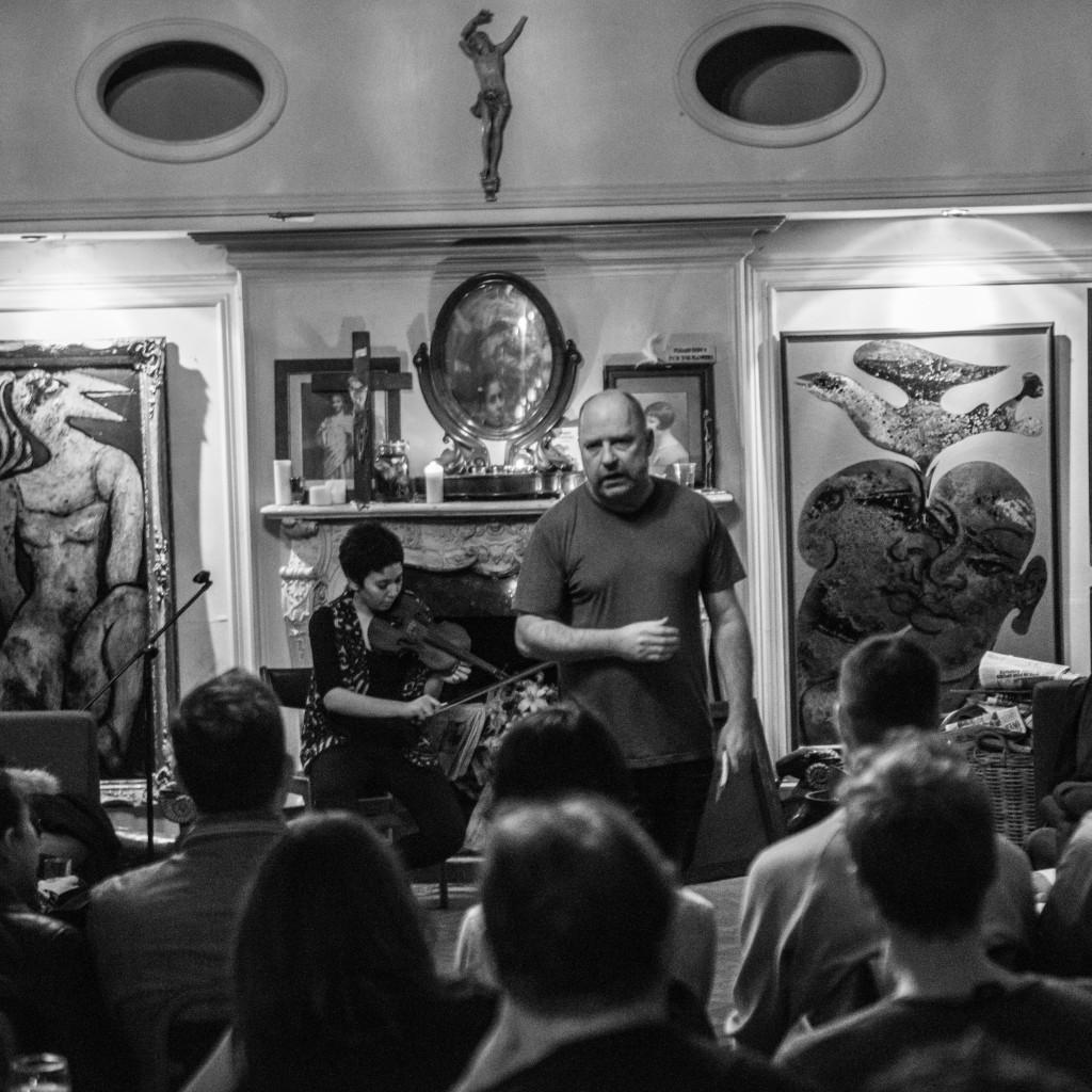 Seeping Through EP Launch - Tim Etchells and Aisha Orazbayeva - Performance 2015 - Image Credit Hugo Glendinning 004