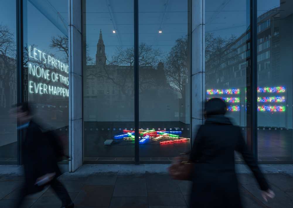 More-Noise-(2016)-&-Let's-Pretend-(Large)-(2014)-&-Mirror-Pieces-(2014)---Neon---Installation-View-Bloomberg-Space-Jan-Mar-2016----Tim-Etchells---Photo-Hugo-Glendinning-72dpi-005
