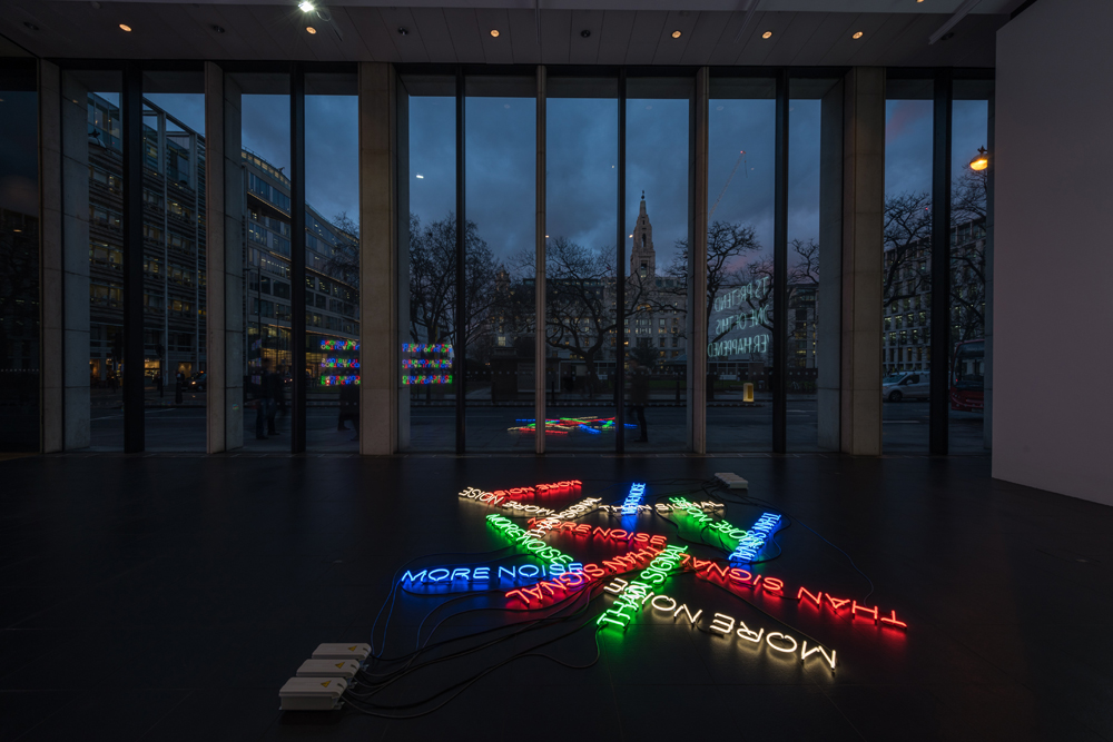 More-Noise-(2016)-&-Let's-Pretend-(Large)-(2014)-&-Mirror-Pieces-(2014)---Neon---Installation-View-Bloomberg-Space-Jan-Mar-2016----Tim-Etchells---Photo-Hugo-Glendinning-72dpi-006