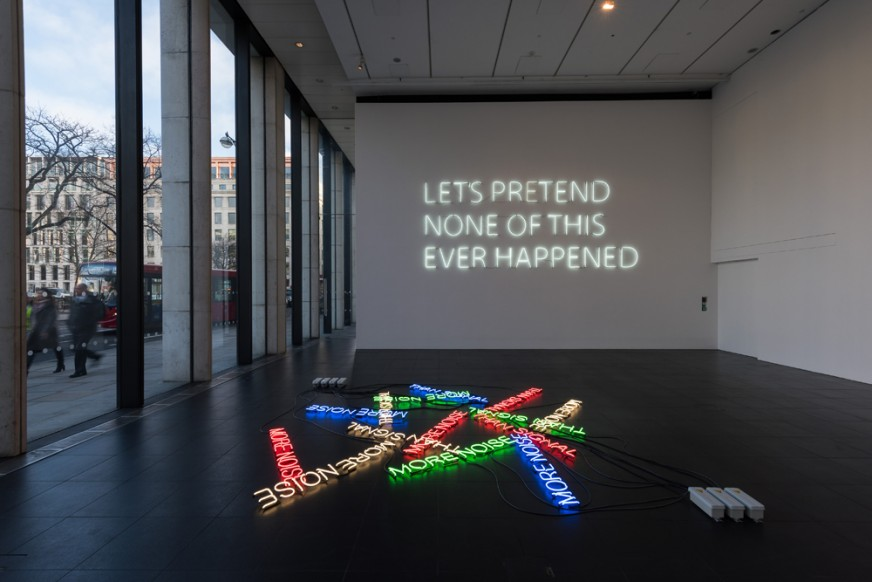 More-Noise-(2016)-&-Let's-Pretend-(Large)-(2014)---Neon---Installation-View-Bloomberg-Space-Jan-Mar-2016----Tim-Etchells---Photo-Hugo-Glendinning-72dpi