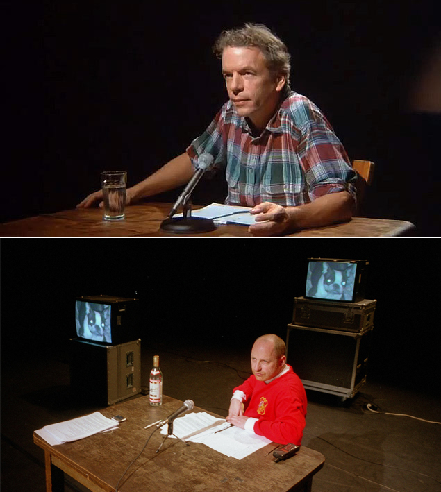 Image: Spalding Gray in Swimming to Cambodia, Tim Etchells in Instructions for Forgetting.
